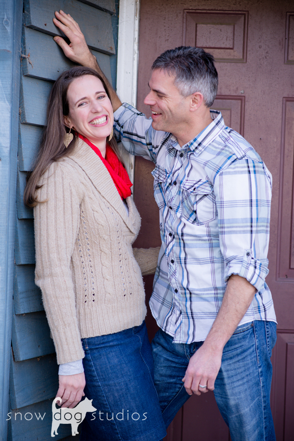 Couples session in Waxhaw, NC in front of a red door