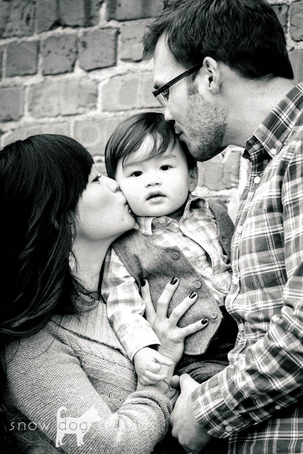 Two amazing parents with thier son during a family photography session in Waxhaw, NC
